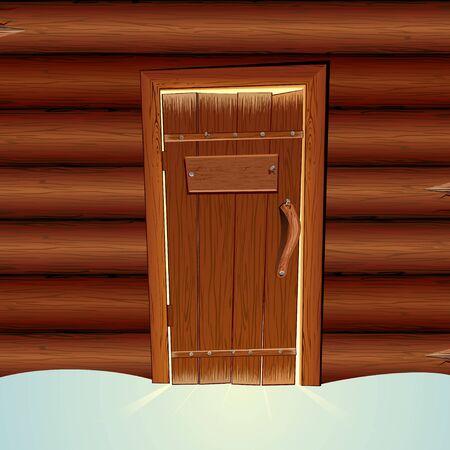 空白記号と閉じたドアのサンタ クロース木造の小屋。ベクトル イラスト