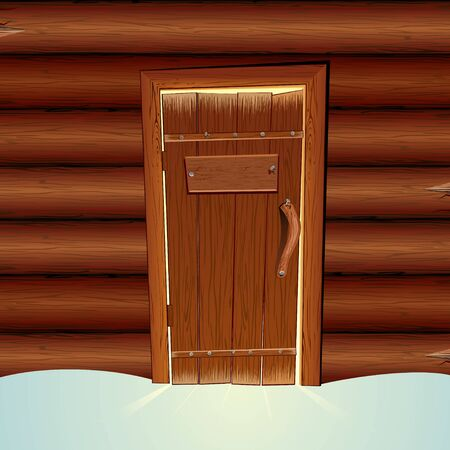 wooden hut: Santa Claus Wooden Hut with Closed Door and Blank Sign. Vector illustration