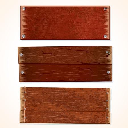 placa bacteriana: Colecci�n de carteles de madera y tableros, aisladas sobre fondo blanco. Vectores