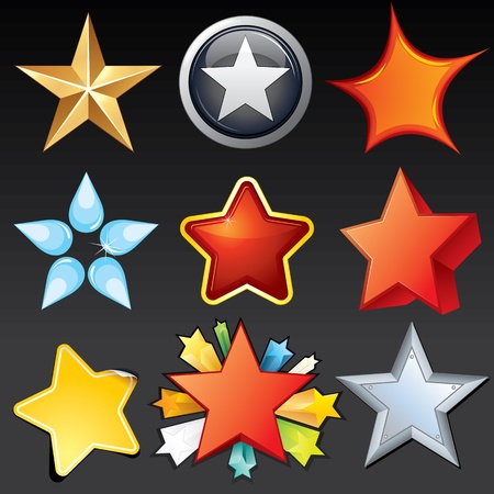 estrella caricatura: Colección de iconos con forma de estrella, botones, logos, Elementos de diseño