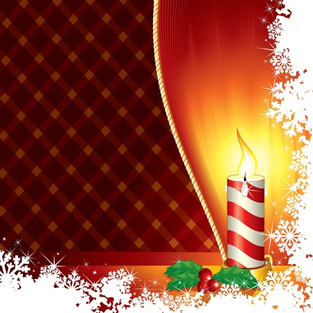 Christmas Candle From Frozen Window - vector with copyspace Vector