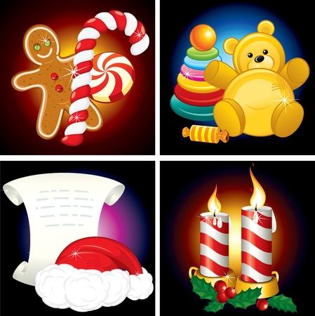 osos navideños: Vector conjunto de elementos de la Navidad