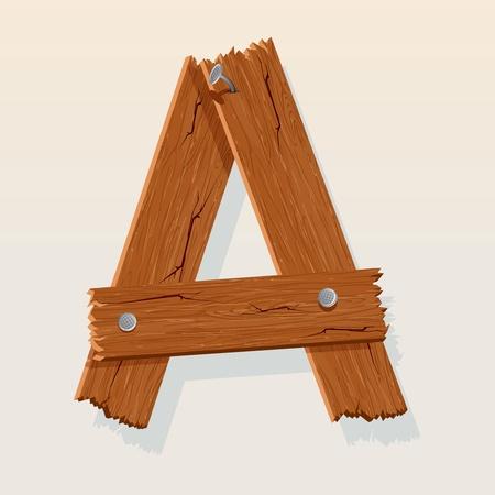 maderas: Letra A del alfabeto vector De Madera