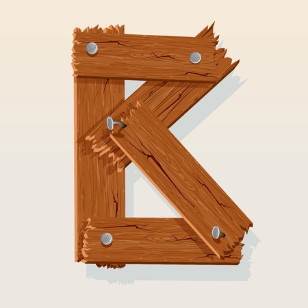 Letter B From vector Wooden Alphabet Vector