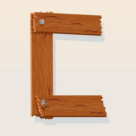 Letter C From vector Wooden Alphabet Vector