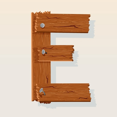 Letter E From vector Wooden Alphabet Vector