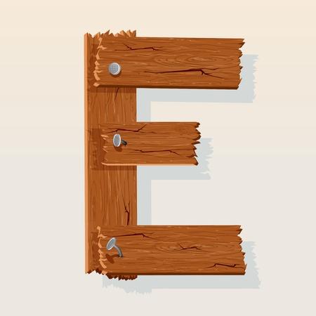 latin alphabet: Letter E From vector Wooden Alphabet Illustration
