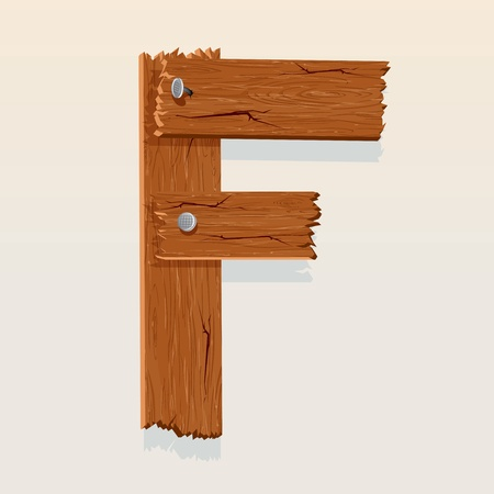 Letter F From vector Wooden Alphabet Vector
