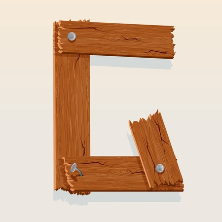 single word: Letter G From vector Wooden Alphabet