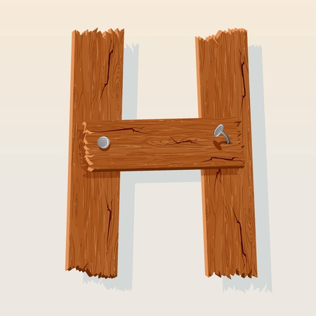 old letters: Letter H From vector Wooden Alphabet