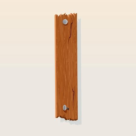 pancarte bois: Lettre I du vecteur Alphabet en bois