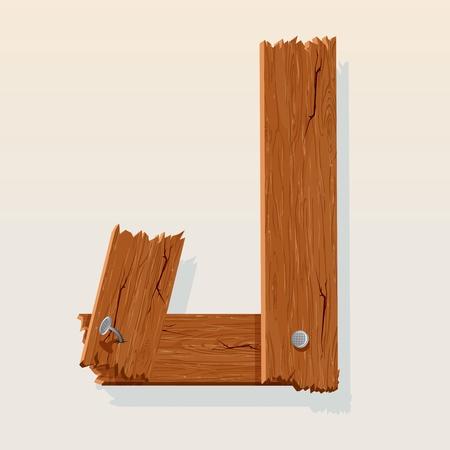 Dalla lettera J Alfabeto vettore in legno Vettoriali