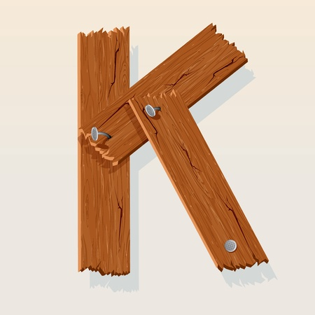 Letter K From vector Wooden Alphabet Vector
