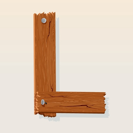 Letter L From vector Wooden Alphabet Vector
