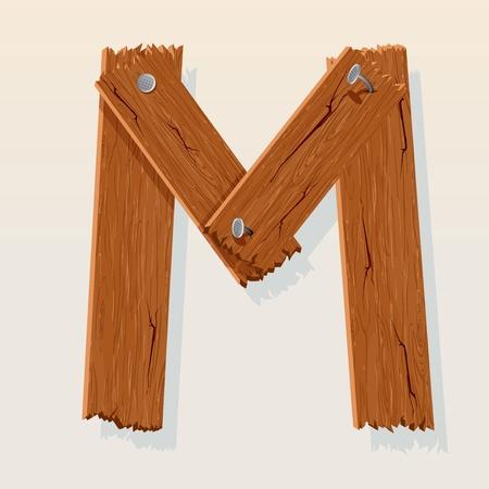 Letter M From vector Wooden Alphabet Stock Vector - 10851032