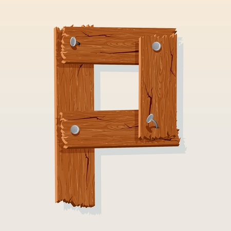 Letter P From vector Wooden Alphabet Vector