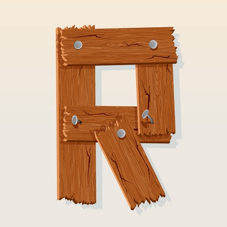 wood grain texture: Letter R From vector Wooden Alphabet