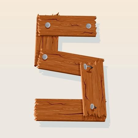 手紙 S からベクトル木製アルファベット