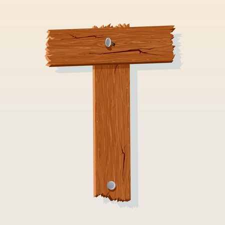 Letter T From vector Wooden Alphabet Vector