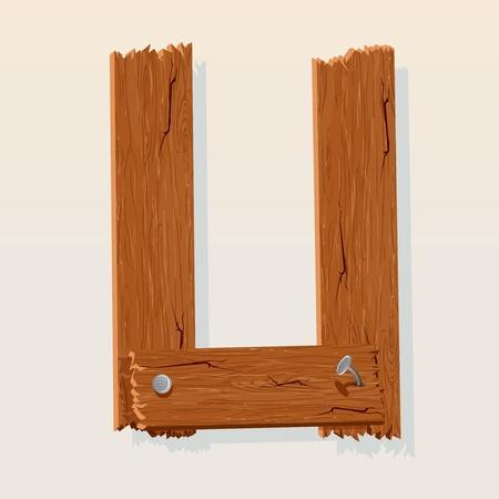 viejo oeste: Letra U Del Alfabeto vector de Madera