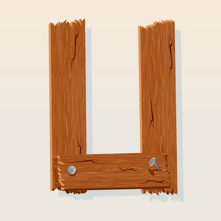 Letter U From vector Wooden Alphabet Vector