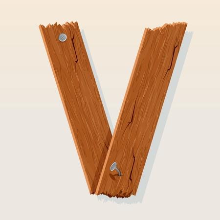 Letter V From vector Wooden Alphabet Stock Vector - 10851010