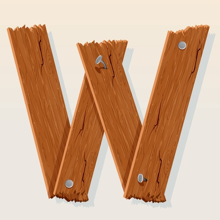 old letters: Letter W From vector Wooden Alphabet Illustration