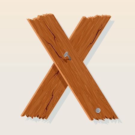 Letter X From vector Wooden Alphabet Vector