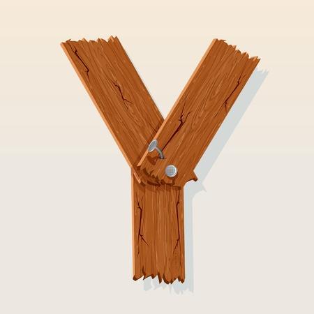 maderas: Letra Y del alfabeto vector de Madera
