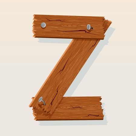 Letter Z From vector Wooden Alphabet Vector