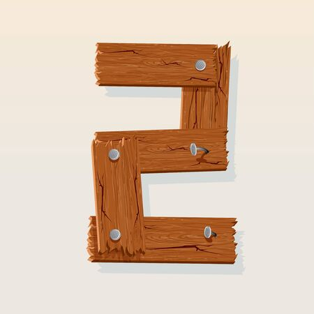 Number 2 from Wooden Grunge Alphabet, isolated vector design element Stock Vector - 10851031