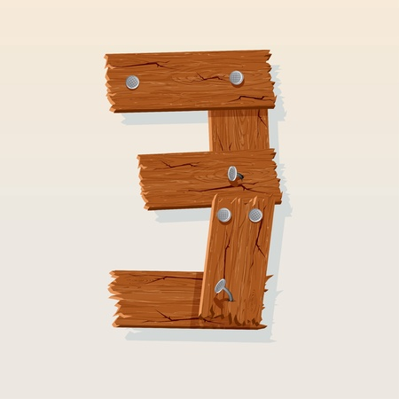 pine three: Number 3 from Wooden Grunge Alphabet, isolated vector design element