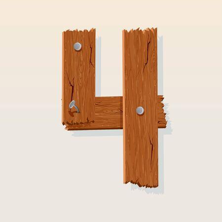 cijfer vier: Nummer 4 van Houten Grunge alfabet, geïsoleerde vector design element