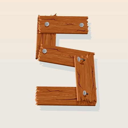 Number 5 from Wooden Grunge Alphabet, isolated vector design element Vector
