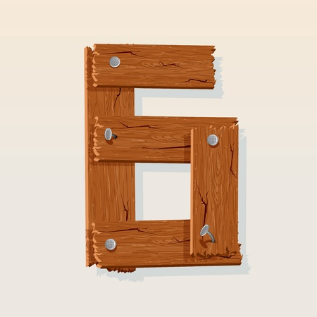 nailed: Number 6 from Wooden Grunge Alphabet, isolated vector design element Illustration