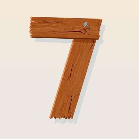 Number 7 from Wooden Grunge Alphabet, isolated vector design element Vector