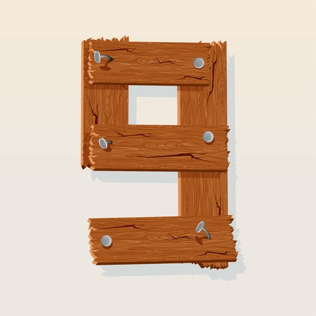 Number 9 from Wooden Grunge Alphabet, isolated vector design element Vector