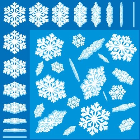 3D Snowflakes, Set of Festive Decorative Design Elements Stock Vector - 11281243