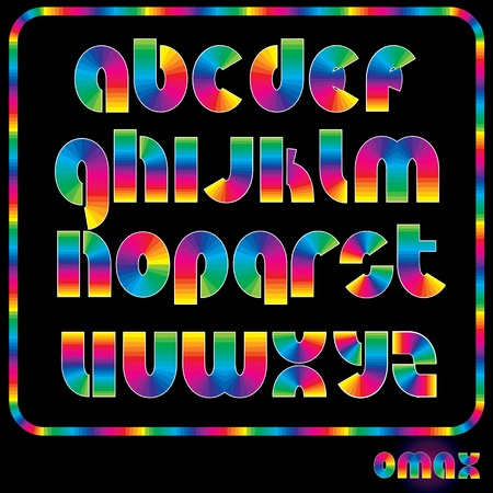 Rainbow Alphabet, Multicolored Shiny Font, available all letters Vector