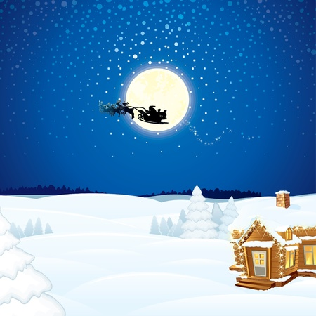 Christmas Scene with Flying Santa Sleigh and his Reindeer.  Vector