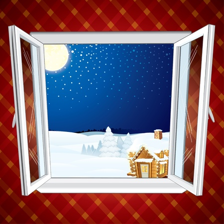 Winter Christmas winter scene through opened window Vector