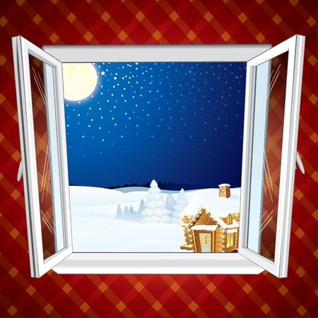 christmas cabin: Winter Christmas winter scene through opened window