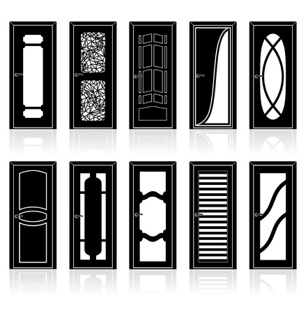 Collection of Interior Door Vector Silhouettes Stock Vector - 11281236
