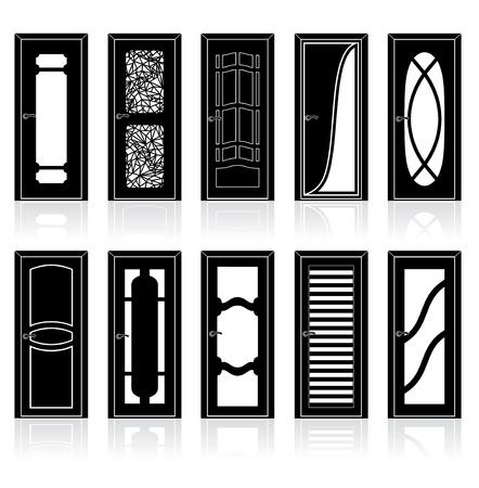 Sammlung der Innentüren Vector Silhouetten Vektorgrafik