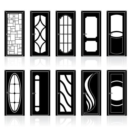 doorframe: Colecci�n de interiores modernos y puertas con marco de la puerta delantera Vectores