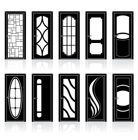 Collection of modern interior and front doors with doorframe Vector
