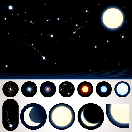 Customizable Night Sky, Collection of Stars, Moons and other Night Elements to create your own night sky Vector