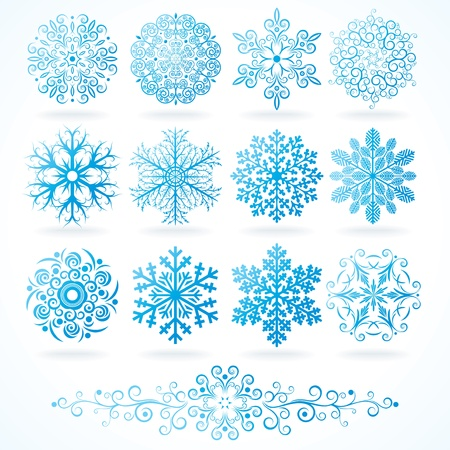 flakes: Detailed Isolated Snowflakes, collection for your design Illustration