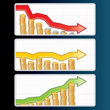 oscillation: Financial Bar Graphs with Falling, Rising and Straight Arrows Illustration