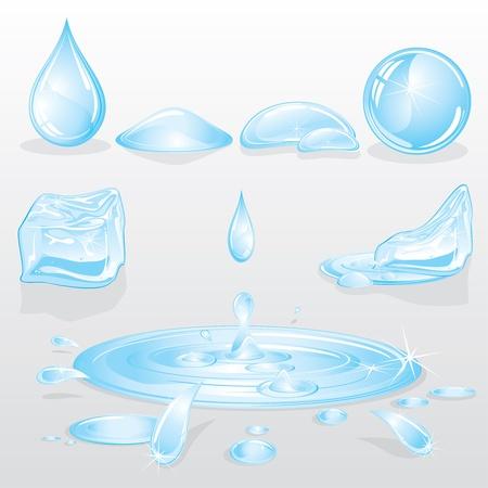Formas de agua y gotas de conjunto, elementos de la naturaleza del diseño